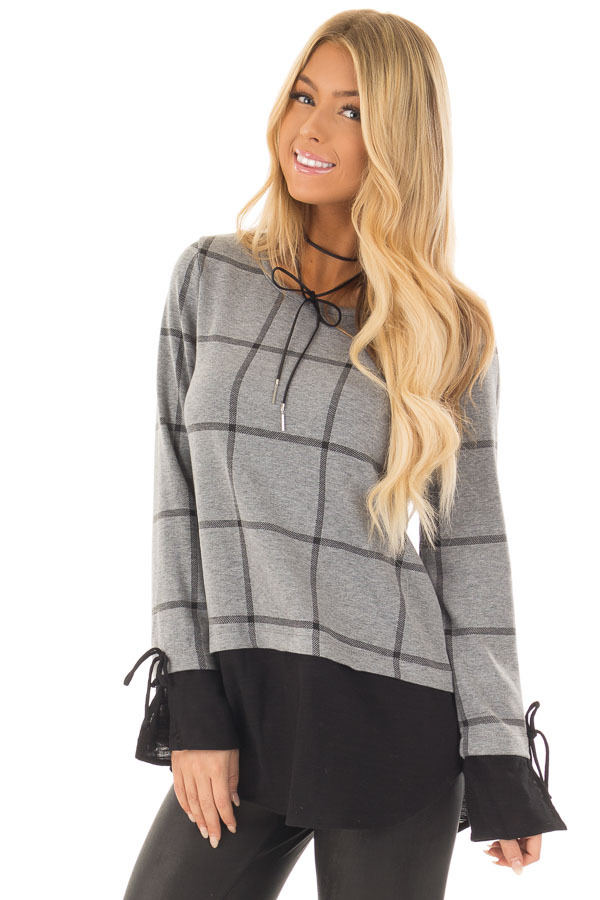 Charcoal Checkered Long Sleeve Top with Black Contrast front close up