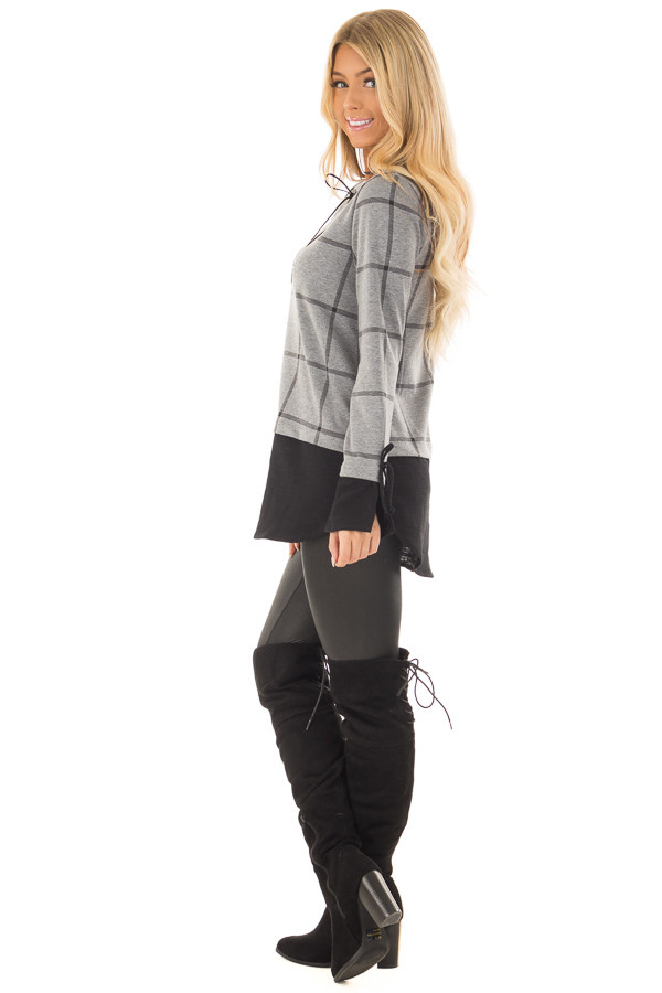 Charcoal Checkered Long Sleeve Top with Black Contrast side full body