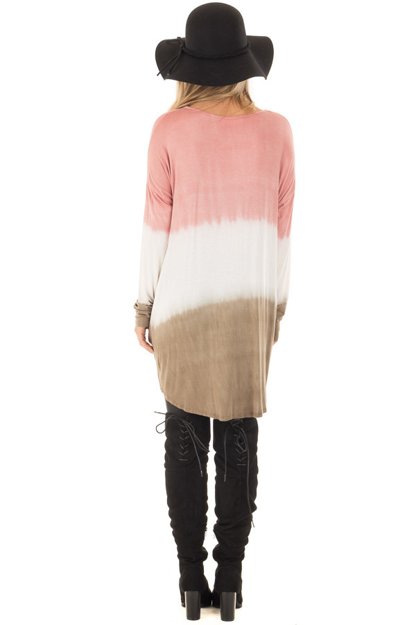 Dusty Pink, White and Olive Long Sleeve Top with Front Tie back full body