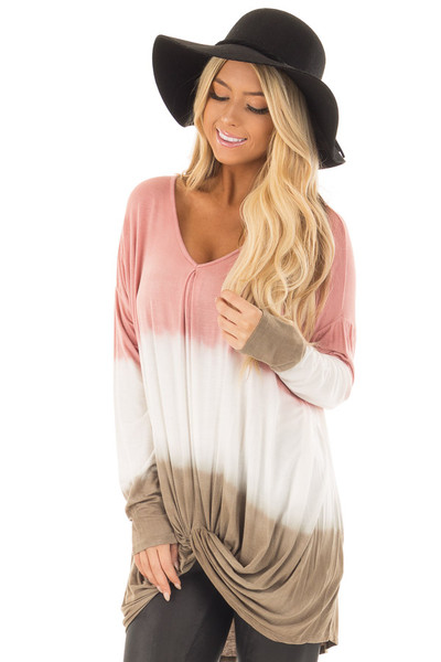Dusty Pink, White and Olive Long Sleeve Top with Front Tie front close up
