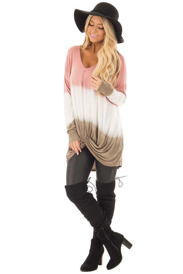 Dusty Pink, White and Olive Long Sleeve Top with Front Tie front full body