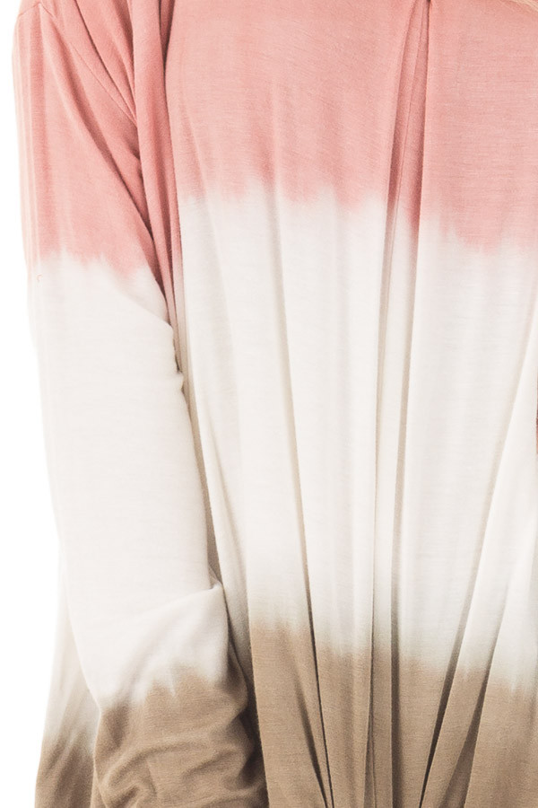 Dusty Pink, White and Olive Long Sleeve Top with Front Tie detail