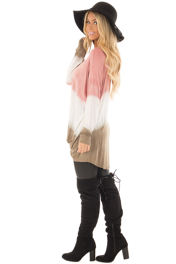 Dusty Pink, White and Olive Long Sleeve Top with Front Tie side full body