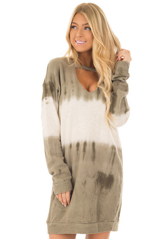 Olive and Ivory Long Sleeve Dress with Chest Cutout front close up
