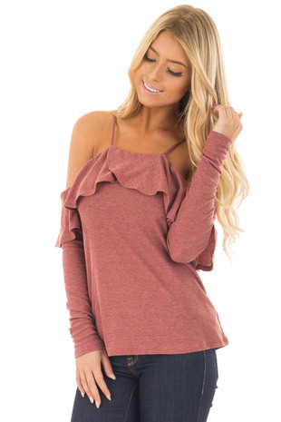 Rust Long Sleeve Cold Shoulder Top with Ruffle Details front close up