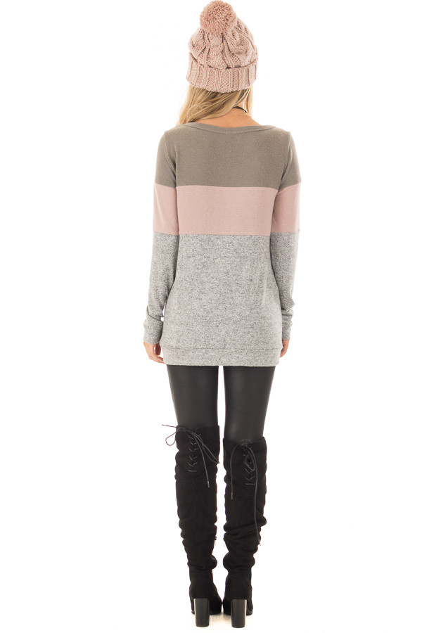 Heather Grey Color Block Long Sleeve Top back full body