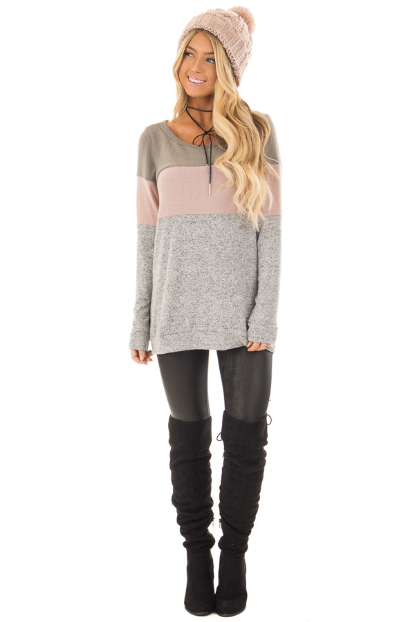 Heather Grey Color Block Long Sleeve Top front full body