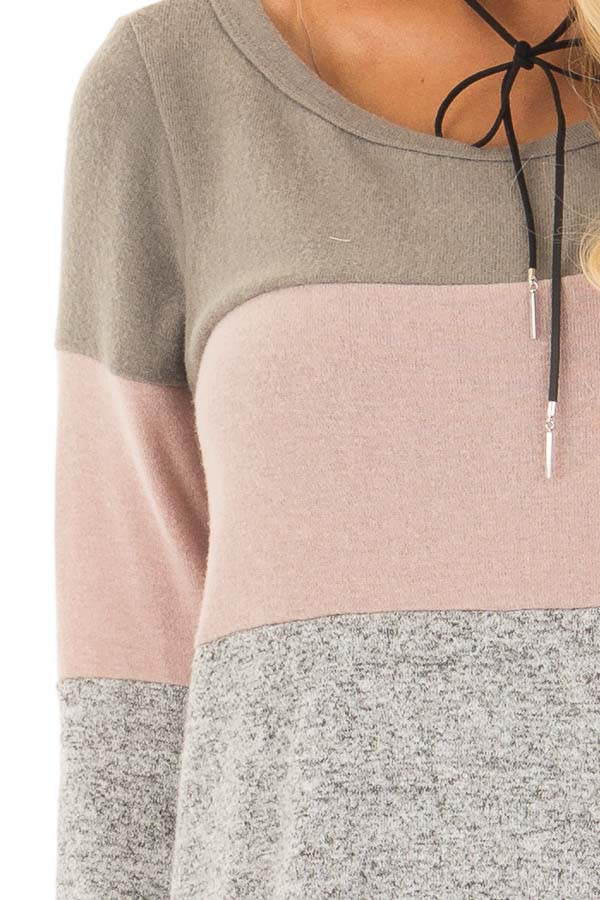 Heather Grey Color Block Long Sleeve Top detail