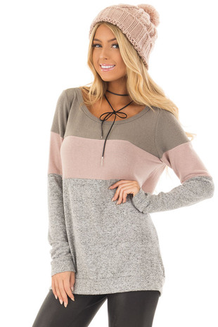 Heather Grey Color Block Long Sleeve Top front close up