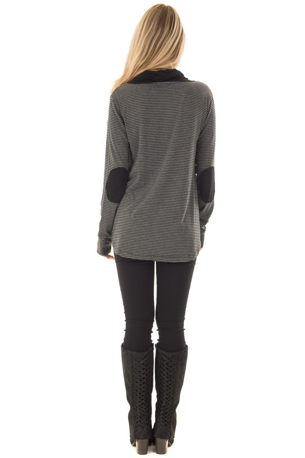 Charcoal and Black Striped High Neck Long Sleeve Top back full body