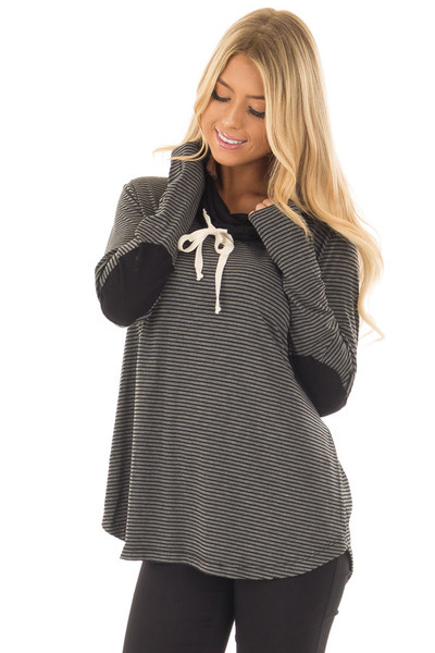 Charcoal and Black Striped High Neck Long Sleeve Top front close up