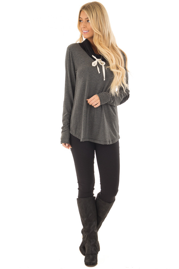 Charcoal and Black Striped High Neck Long Sleeve Top front full body