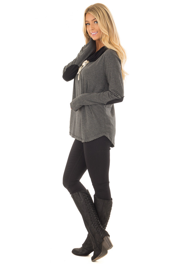 Charcoal and Black Striped High Neck Long Sleeve Top side full body