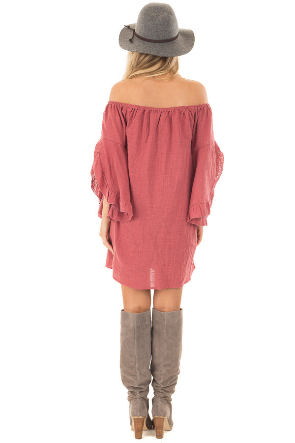 Marsala Off the Shoulder Dress with Flowy Sleeves back full body