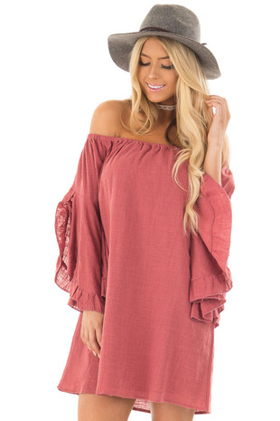 Marsala Off the Shoulder Dress with Flowy Sleeves front close up