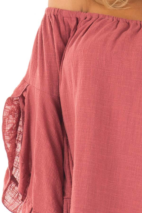 Marsala Off the Shoulder Dress with Flowy Sleeves detail