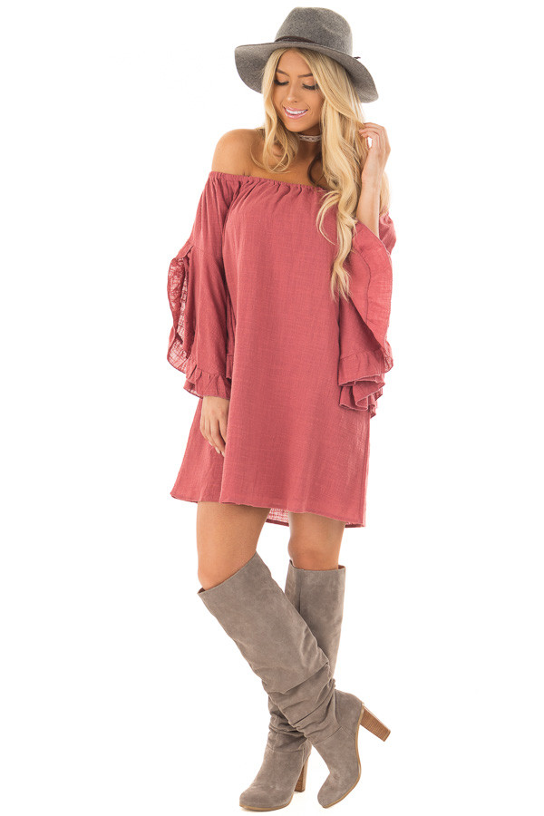 Marsala Off the Shoulder Dress with Flowy Sleeves front full body