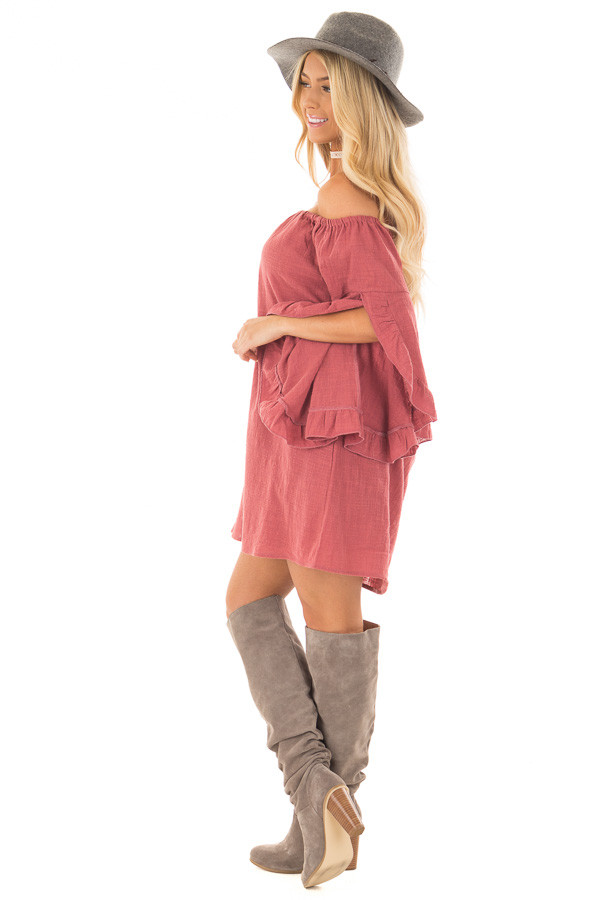 Marsala Off the Shoulder Dress with Flowy Sleeves side full body