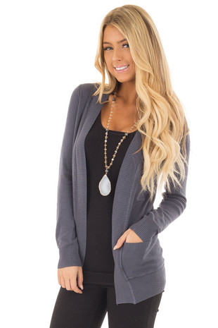 Slate Blue Long Sleeve Cardigan with Pockets front close up