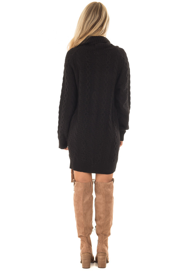 Black Cowl Neck Sweater with Faux Suede Side Tie Details back full body