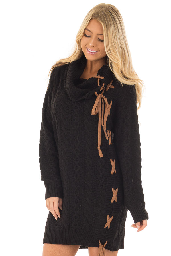 Black Cowl Neck Sweater with Faux Suede Side Tie Details front close up