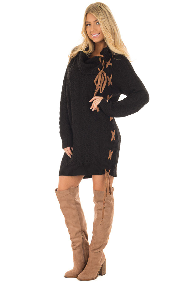 Black Cowl Neck Sweater with Faux Suede Side Tie Details front full body