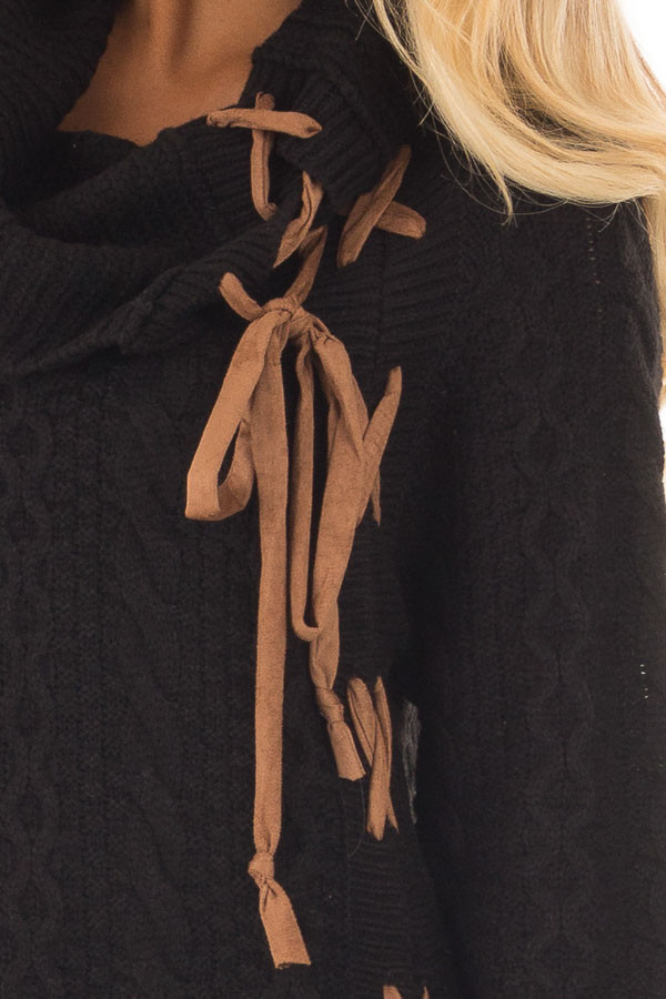 Black Cowl Neck Sweater with Faux Suede Side Tie Details detail