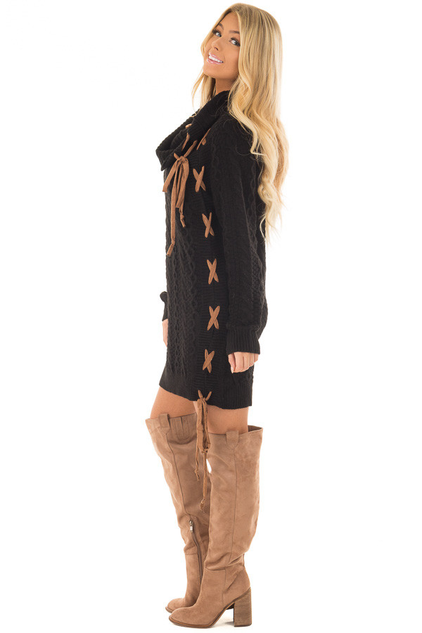 Black Cowl Neck Sweater with Faux Suede Side Tie Details side full body