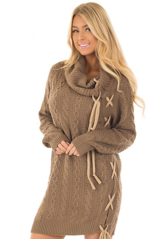 Cocoa Cowl Neck Sweater with Faux Suede Side Tie Details front close up