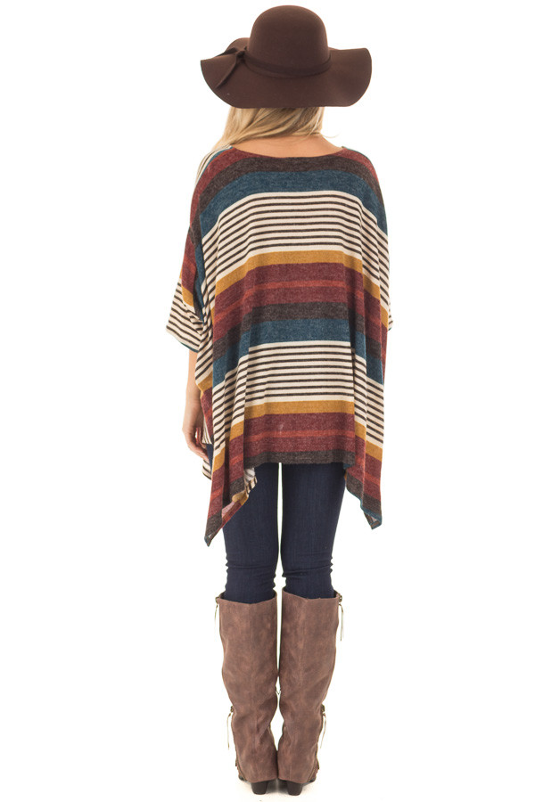 Burgundy Multicolor Striped Poncho Style Top with Arm Holes back full body