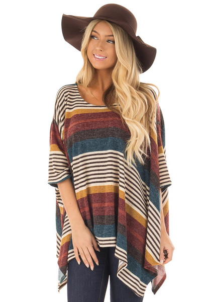Burgundy Multicolor Striped Poncho Style Top with Arm Holes front close up