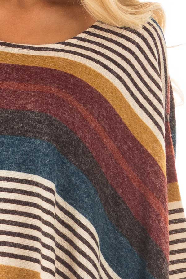 Burgundy Multicolor Striped Poncho Style Top with Arm Holes detail