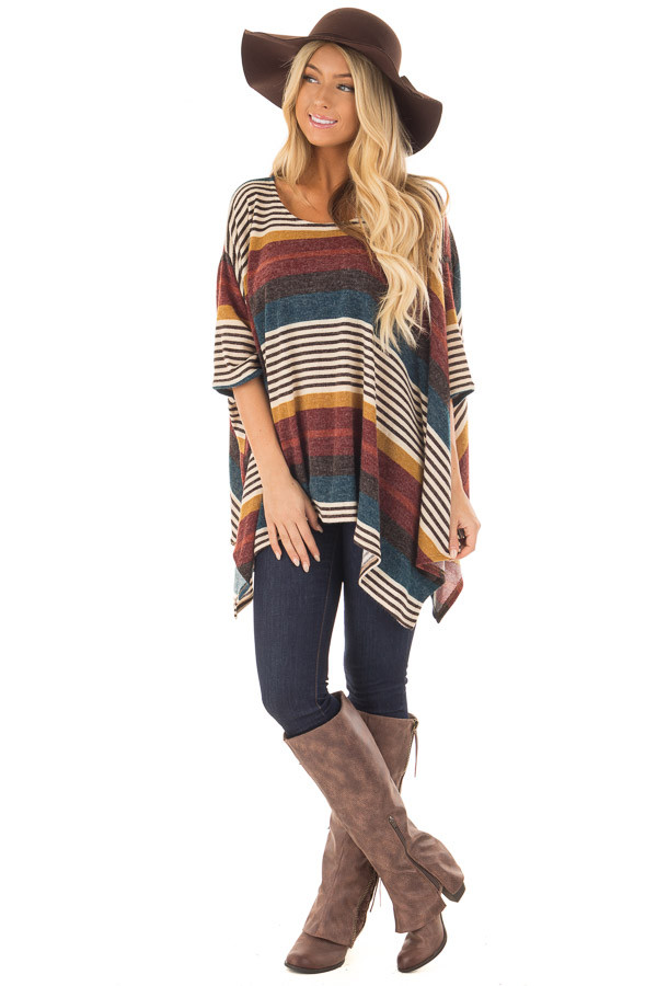 Burgundy Multicolor Striped Poncho Style Top with Arm Holes front full body