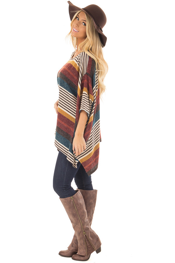 Burgundy Multicolor Striped Poncho Style Top with Arm Holes side full body