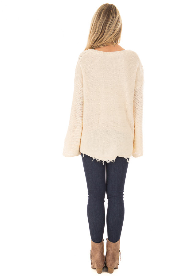 Ivory Cable Knit Sweater back full body