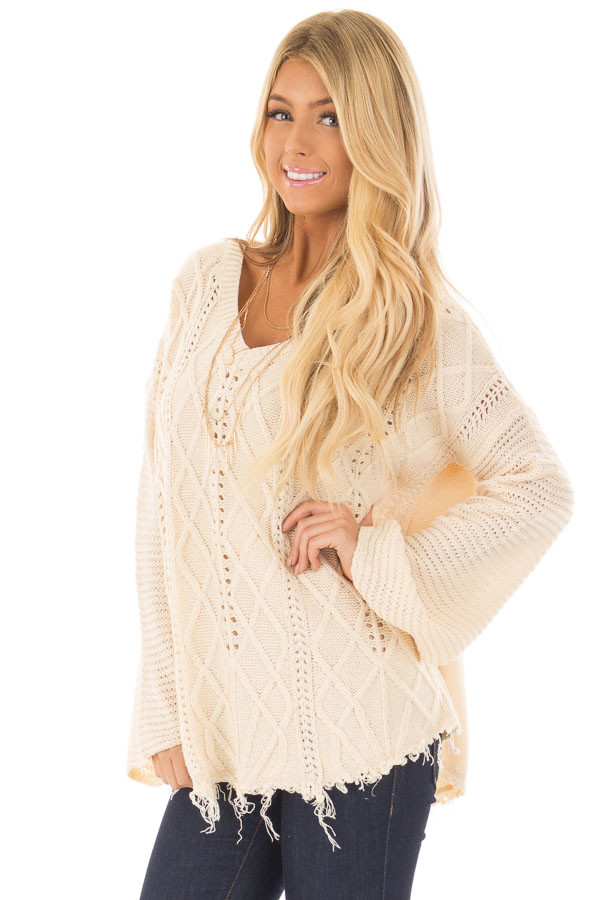 Ivory Cable Knit Sweater - Lime Lush Boutique