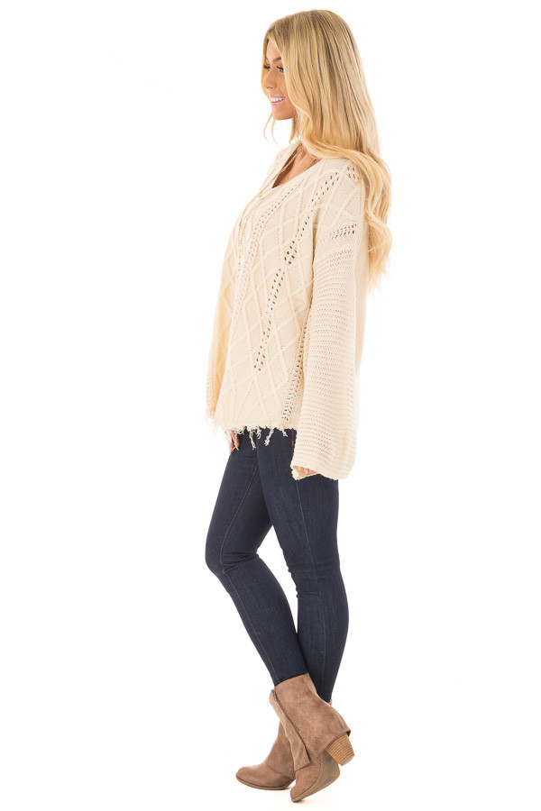 Ivory Cable Knit Sweater side full body
