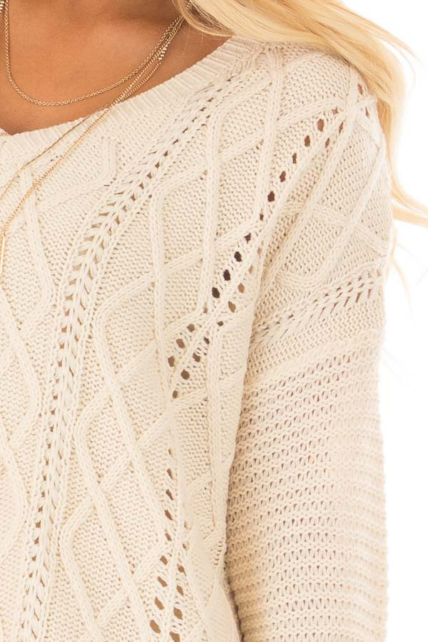 Ivory Cable Knit Sweater detail