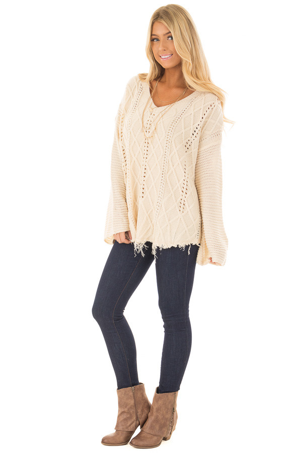 Ivory Cable Knit Sweater front full body