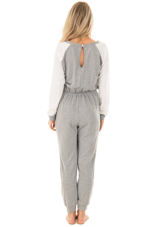 Heather Grey Jumpsuit with Off White Raglan Long Sleeves back full body