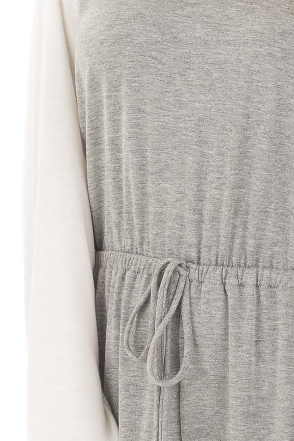 Heather Grey Jumpsuit with Off White Raglan Long Sleeves detail