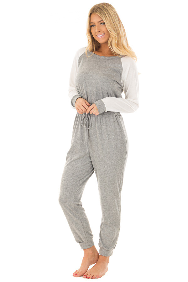 Heather Grey Jumpsuit with Off White Raglan Long Sleeves front full body