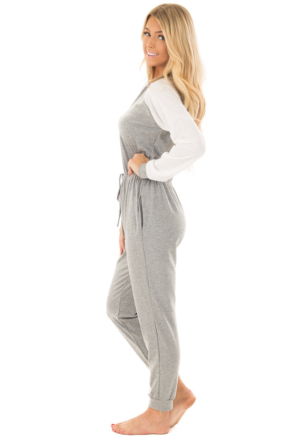 Heather Grey Jumpsuit with Off White Raglan Long Sleeves side full body
