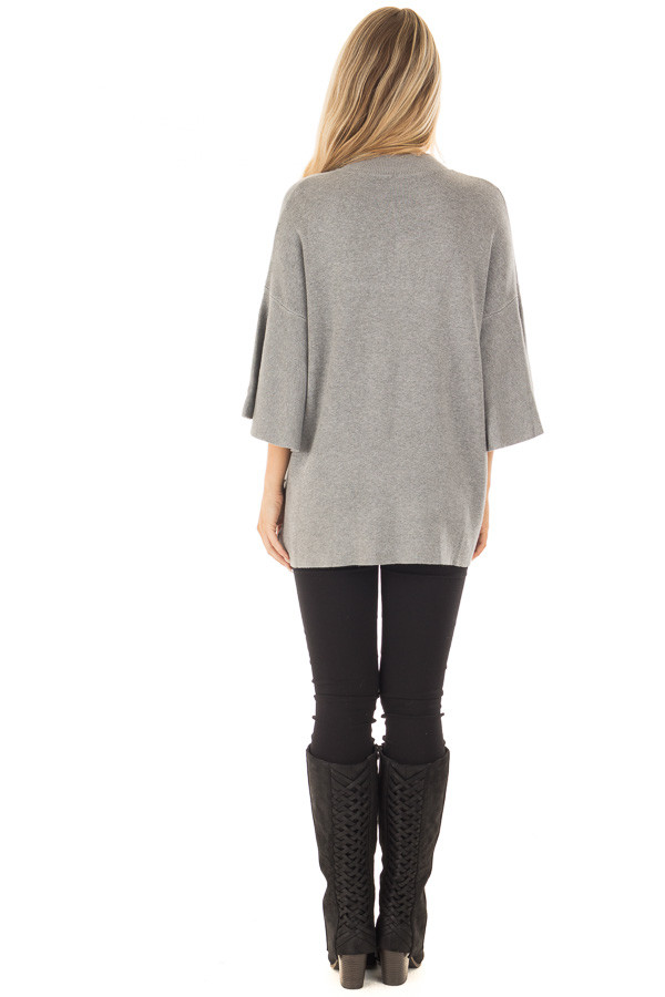 Heather Grey 3/4 Bell Sleeve Sweater back full body