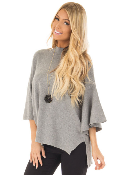 Heather Grey 3/4 Bell Sleeve Sweater front close up