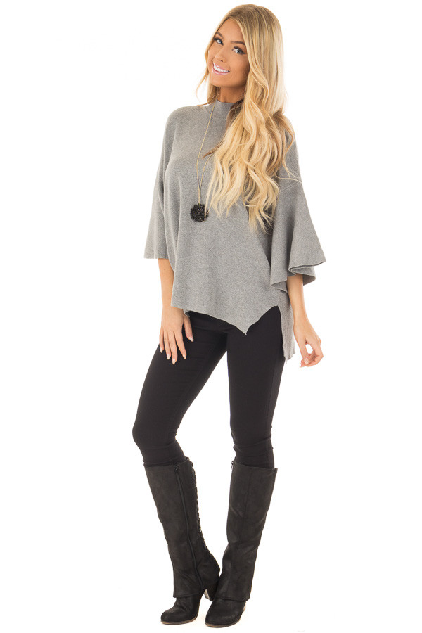 Heather Grey 3/4 Bell Sleeve Sweater front full body