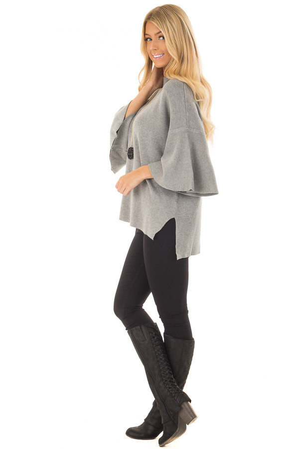 Heather Grey 3/4 Bell Sleeve Sweater side full body