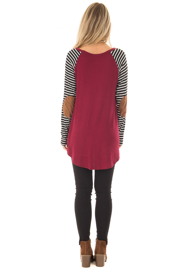 Burgundy Top with Striped Raglan Sleeves and Elbow Patches back full body