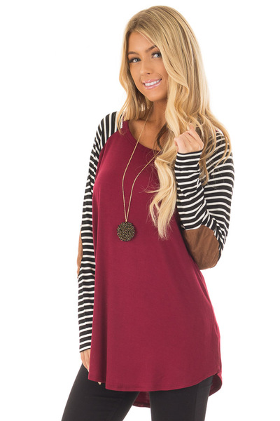 Burgundy Top with Striped Raglan Sleeves and Elbow Patches front close up