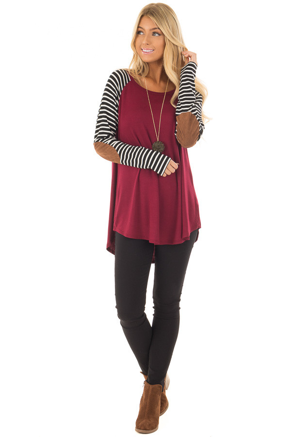 Burgundy Top with Striped Raglan Sleeves and Elbow Patches front full body
